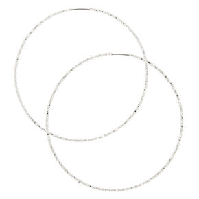 Silver 60MM Laser Cut Hoop Earrings,