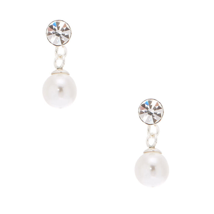Sterling Silver 5mm Pearl Drop Stud Earrings