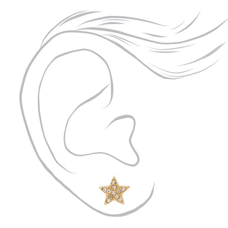 Lot boucles d'oreilles et collier amas d'étoiles strass couleur dorée - Lot de 2,