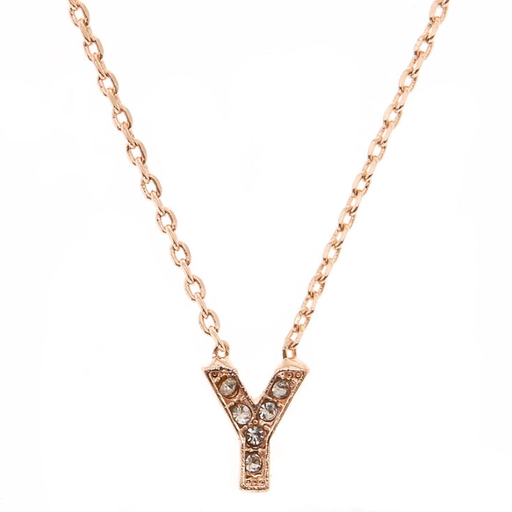Rose Gold Studded Y Initial Necklace,