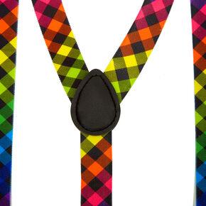Rainbow Checkered Suspenders,