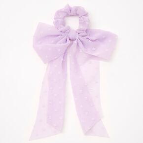 Small Organza Bow Hair Scrunchie Scarf - Lilac,