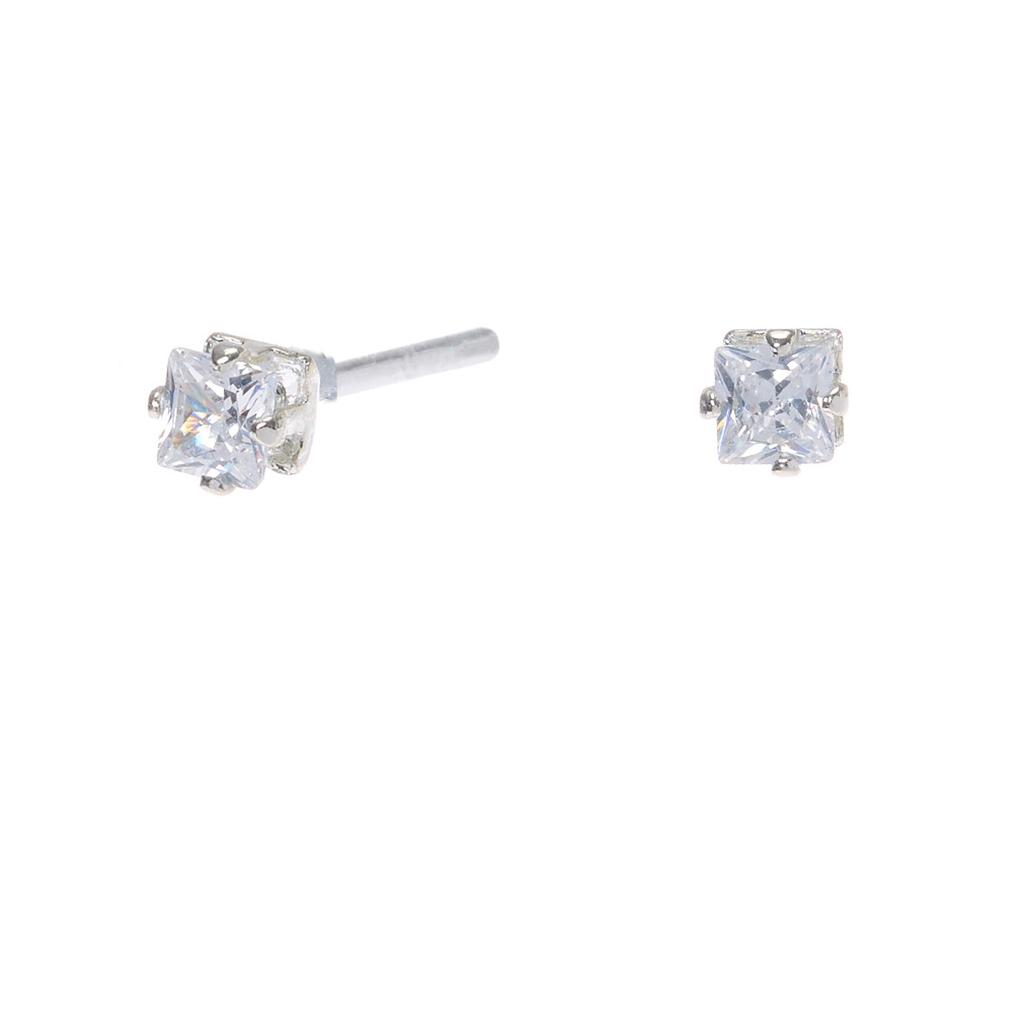 Silver Cubic Zirconia Square Stud Earrings - 3MM