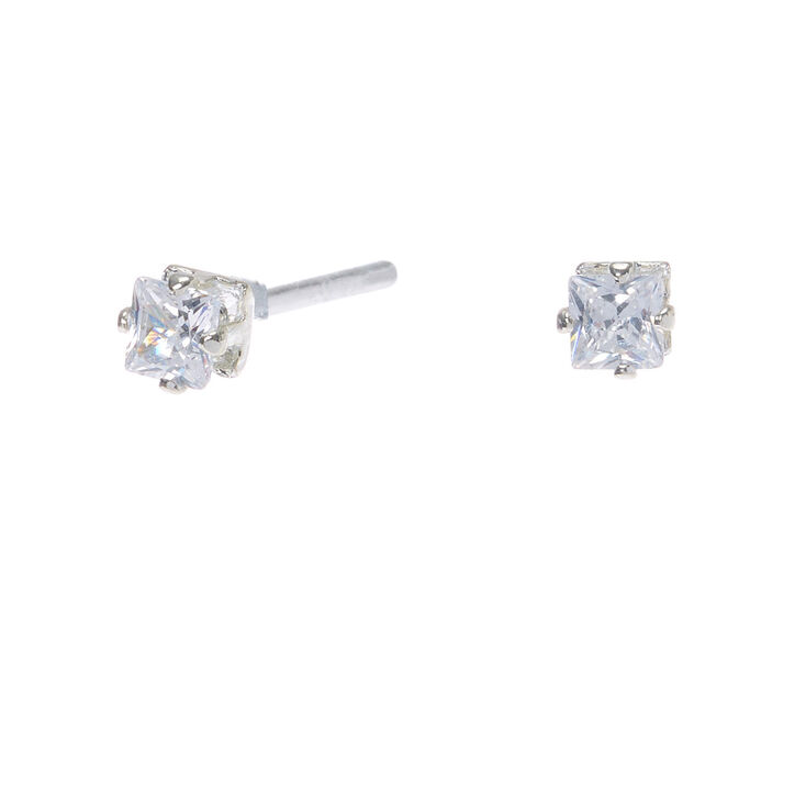 Silver Cubic Zirconia Square Stud Earrings - 3MM,