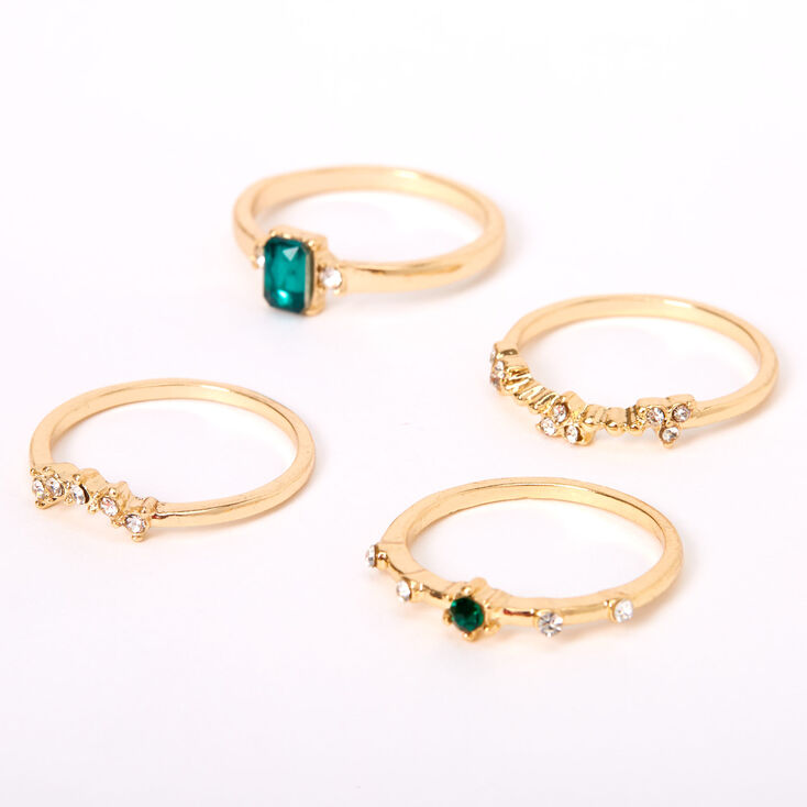 Gold Emerald Embellished Stone Rings - 4 Pack,
