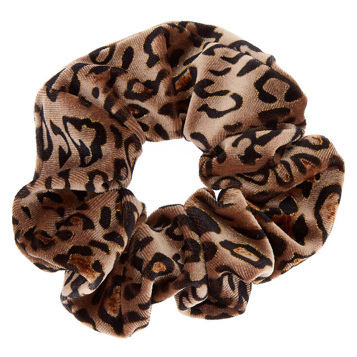 Leopard Velvet Hair Scrunchie   Brown by Claire's