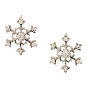 Silver Bling Snowflake Stud Earrings