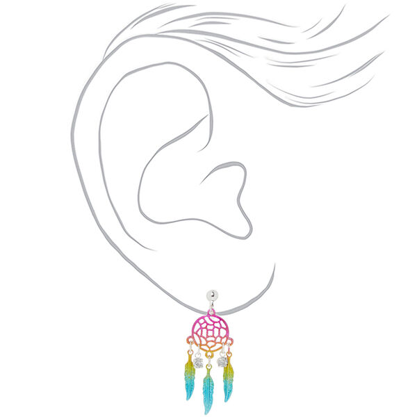 "Claire's - 1.5"" rainbow dreamcatcher clip on earrings - 2"