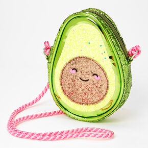 Smiling Avocado Glittery Crossbody Bag,
