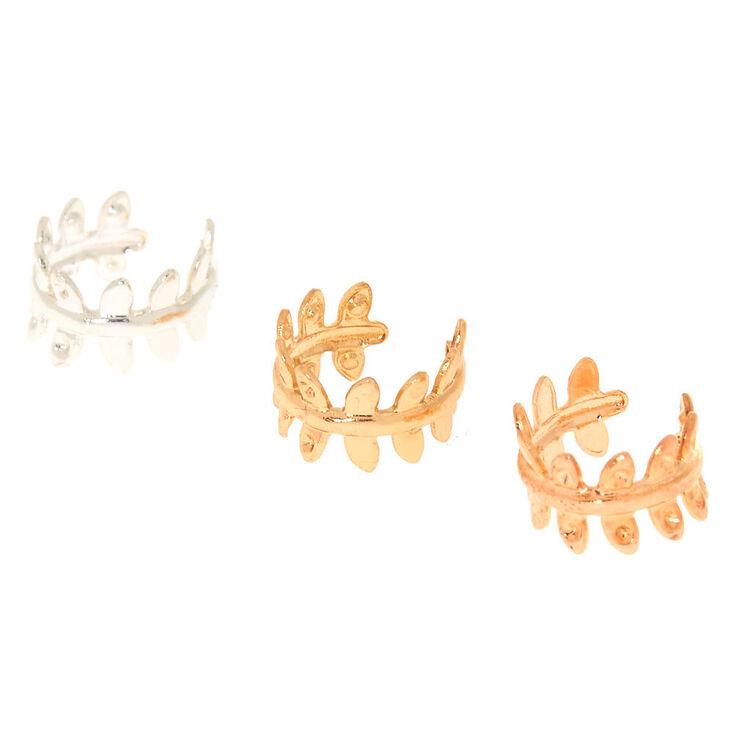 Mixed Metal Leaf Ear Cuffs - 3 Pack,