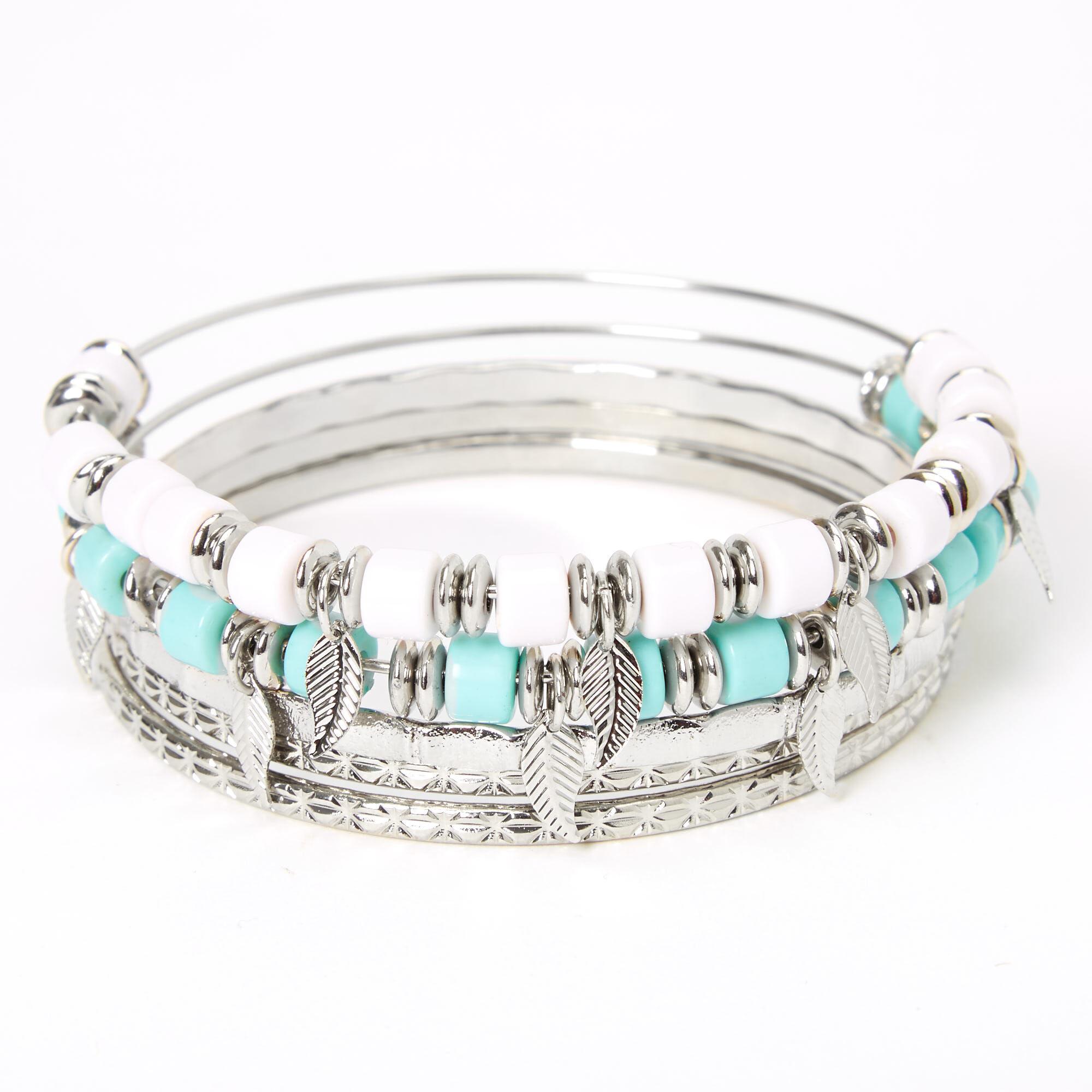 White Beaded Feather Bangle Bracelets