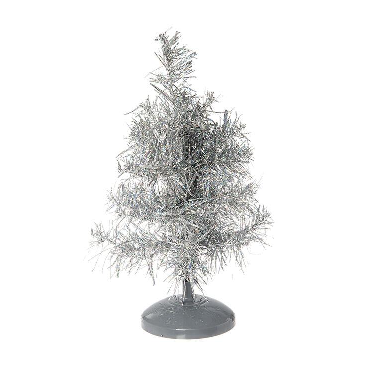 mini silver tinsel christmas tree