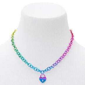 Metallic Anodised Padlock Pendant Necklace,