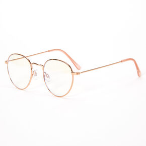Solar Blue Light Reducing Round Clear Lens Frames - Gold,