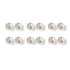 4MM Crystal Stud Earrings - 6 Pack,