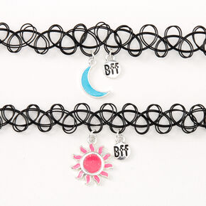 Best Friends Sun & Moon Glow In The Dark Tattoo Choker Necklaces - 2 Pack,