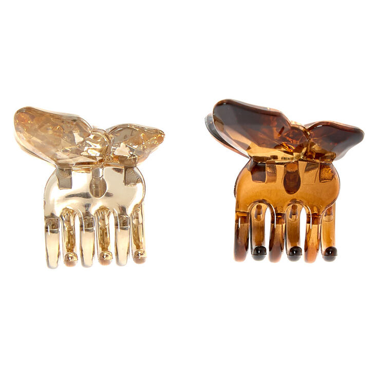 Gold Tortoiseshell Mini Butterfly Hair Claws - 2 Pack,