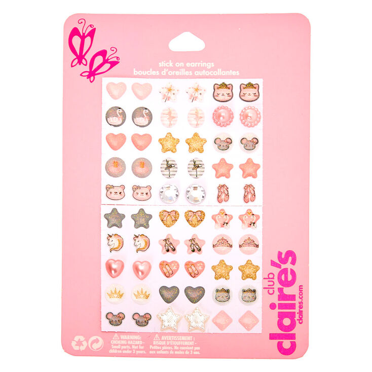 Claire's Club Animal Ballerina Stick On Earrings - 30 Pack,