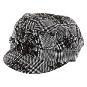 Glen Plaid Floral Captain Hat - Black,