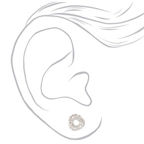 Silver Crystal Knotted Stud Earrings,