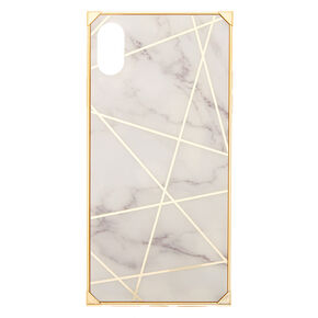 Gold Marble Geometric Square Phone Case - Fits iPhone XS Max,