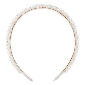 Faceted Bead Headband - White,