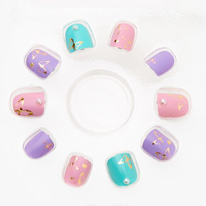 Claire's Club Butterfly Pearl Faux Nail Set - Rainbow, 10 Pack,