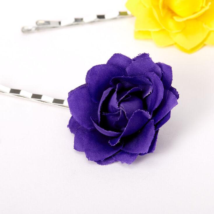 Rainbow Flower Hair Pins -  6 Pack,
