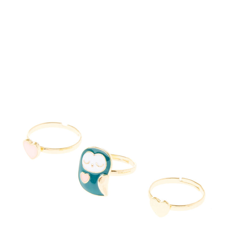 Gold Owl Heart Ring Set,