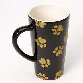 Fur Mama Paw Print Ceramic Mug - Black,