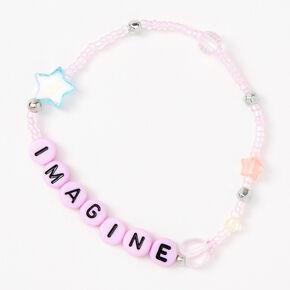 Imagine Beaded Stretch Bracelet - Pink,