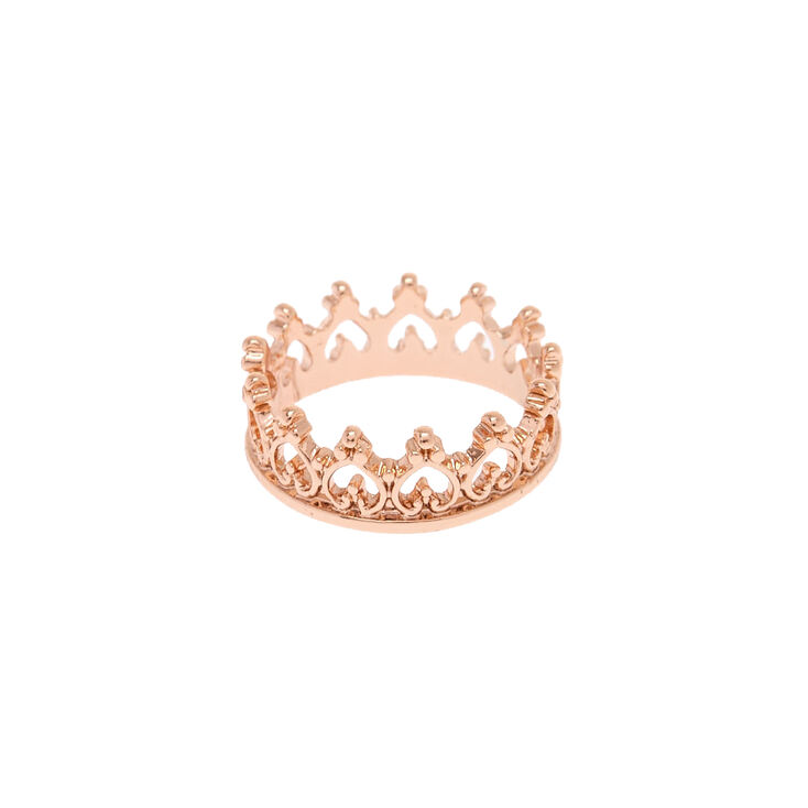 Attractive Rose Gold-Tone Crown Ring   Claire's US PX71