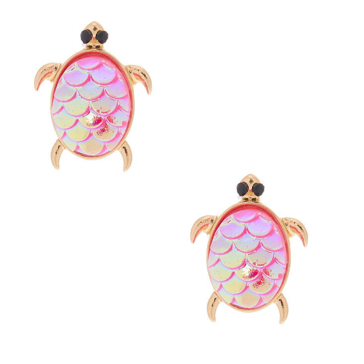 Holographic Turtle Stud Earrings - Pink,