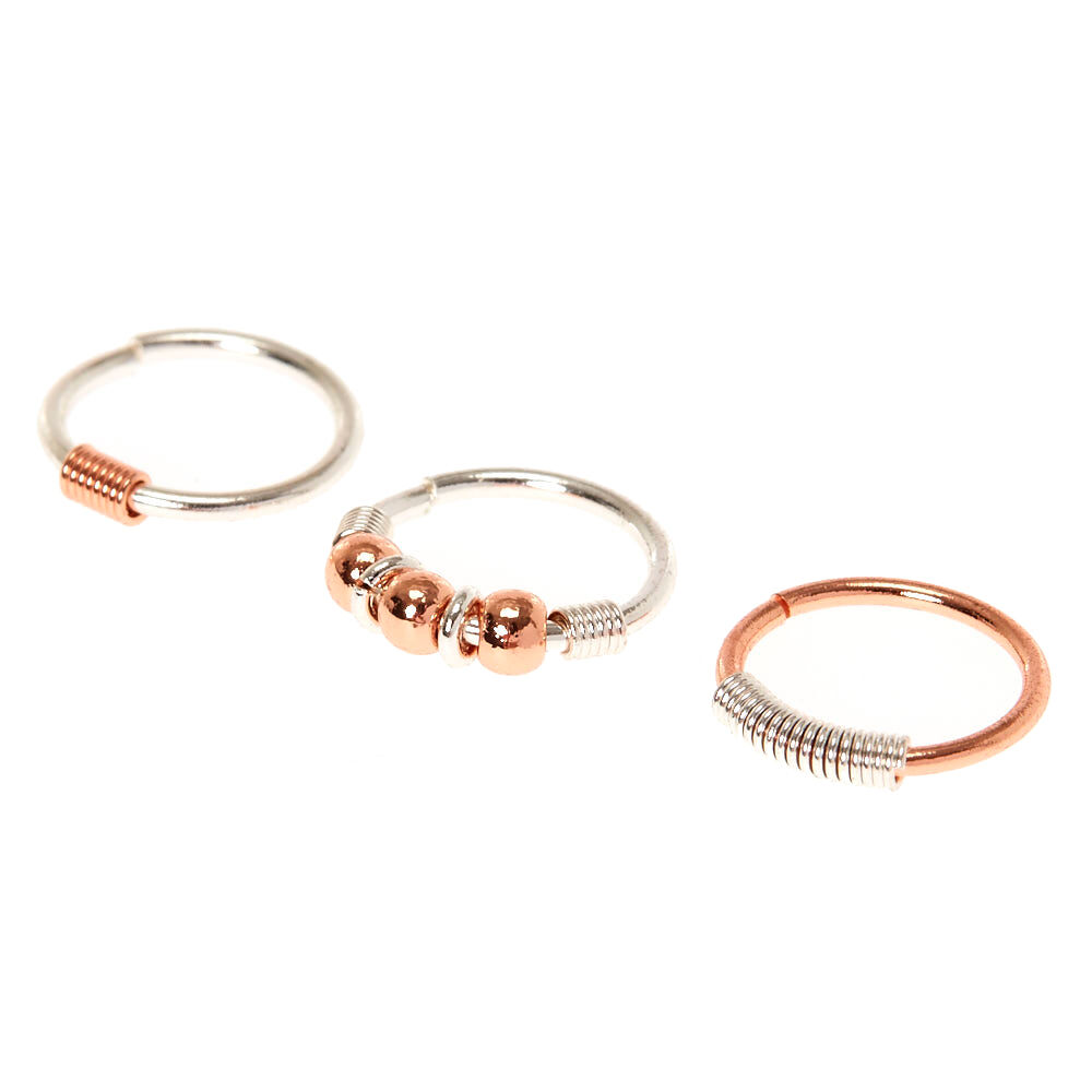 20G Rose Gold Silver Mix Nose Rings Claires