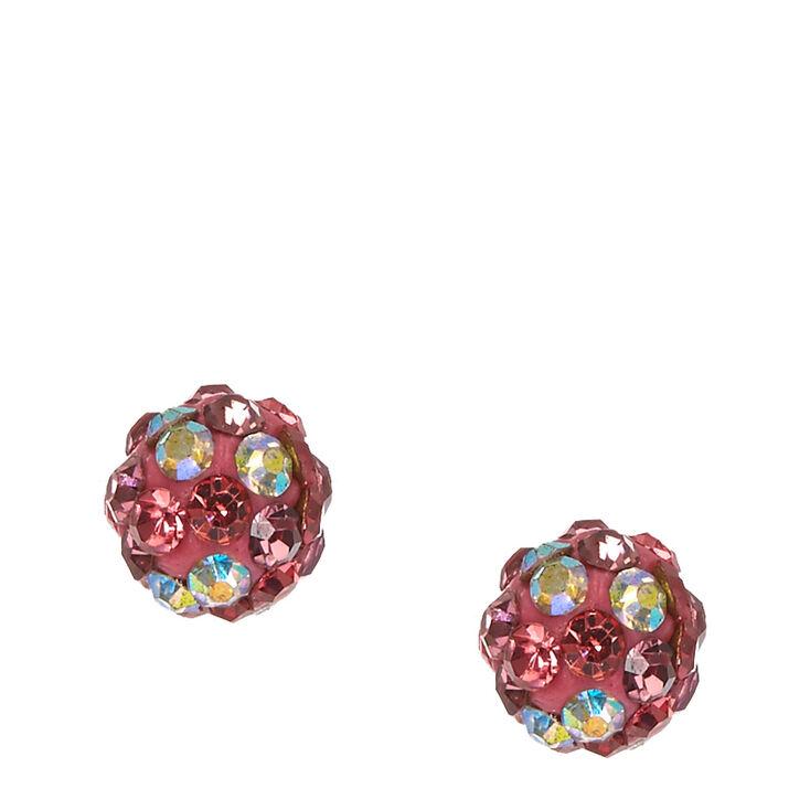 Clous d'oreilles rose bicolore en strass,