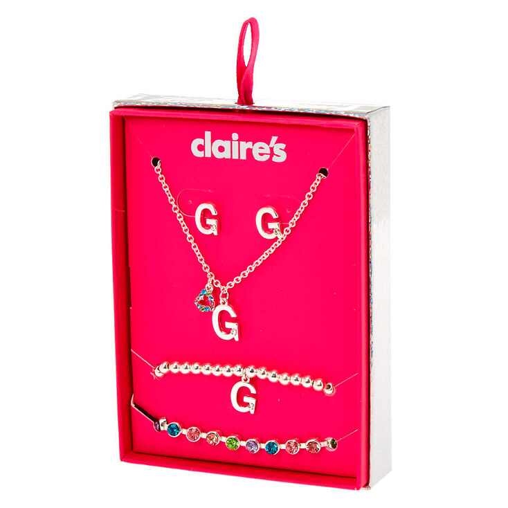 Silver Rainbow Initial Jewellery Gift Set - G, 4 Pack,
