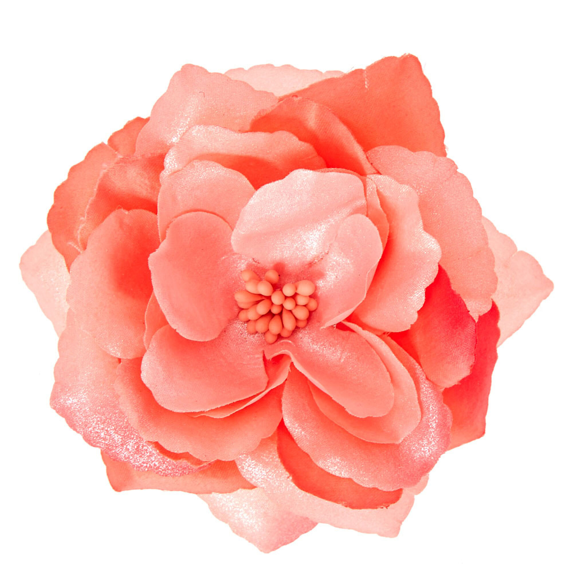 Large Coral Flower Hair Clip Claires Us