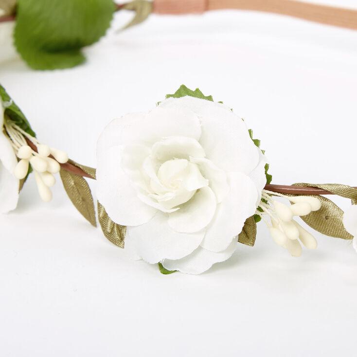 Ivory Rose Flower Crown Headwrap,