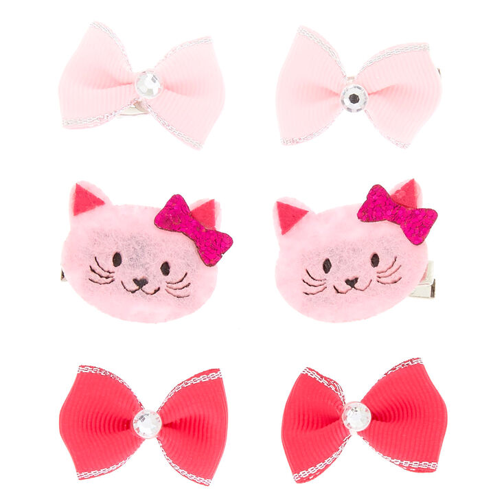 Claire's Club Avery the Cat Hair Clips - Pink, 6 Pack,