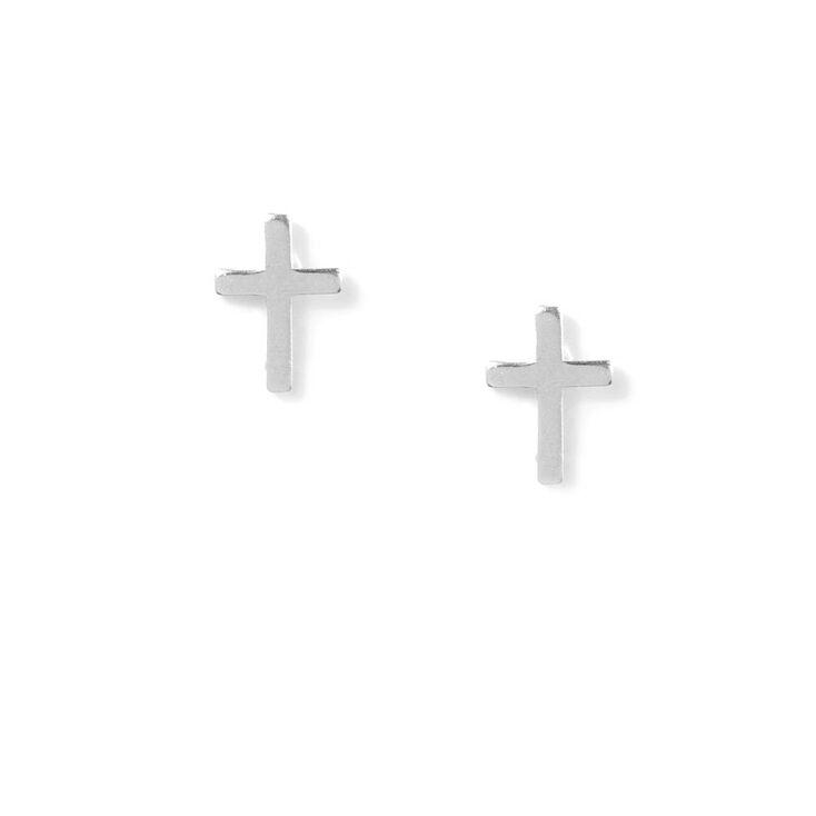 Sterling Silver Cross Stud Earrings,