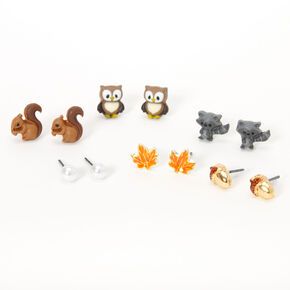 Silver Fall Critter Stud Earrings - 6 Pack,