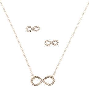 Silver Rhinestone Infinity Jewelry Set  - 2 Pack,