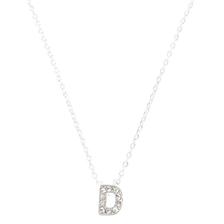 Collier à pendentif initiale ornementé couleur argentée - D,