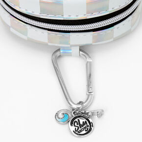Sky Brown™ Holographic Checkered Mini Backpack Keychain - Silver,