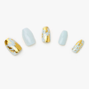 Light Blue Marble Foil Coffin Faux Nails - 24 Pack,