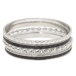 Silver Arm Party Bangle Bracelets - 5 Pack,