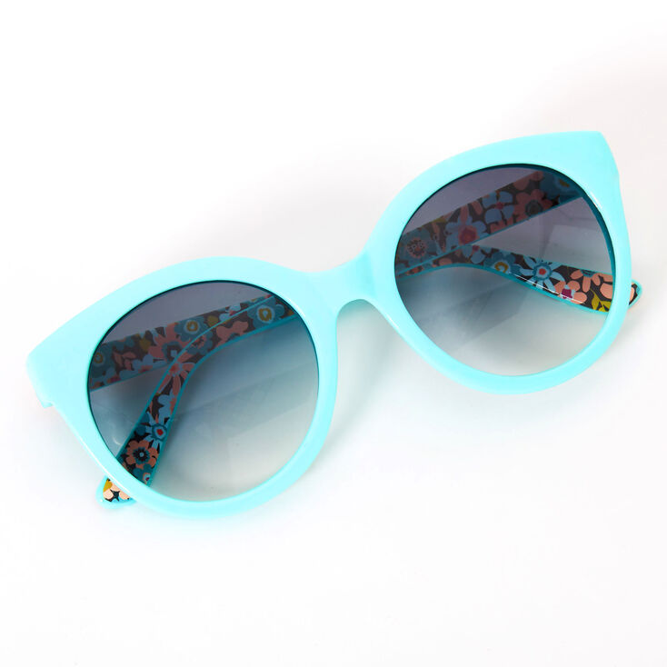 Floral Rounded Mod Sunglasses - Mint,