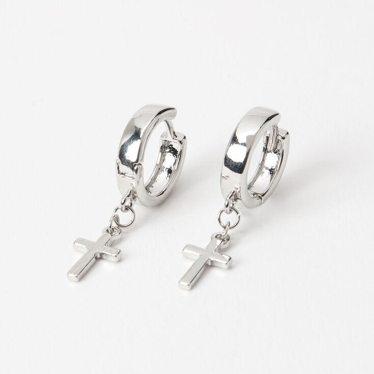 Silver 15MM Cross Huggie Hoop Earrings,