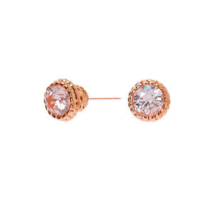 Rose Gold Cubic Zirconia 3MM Vintage Round Stud Earrings,