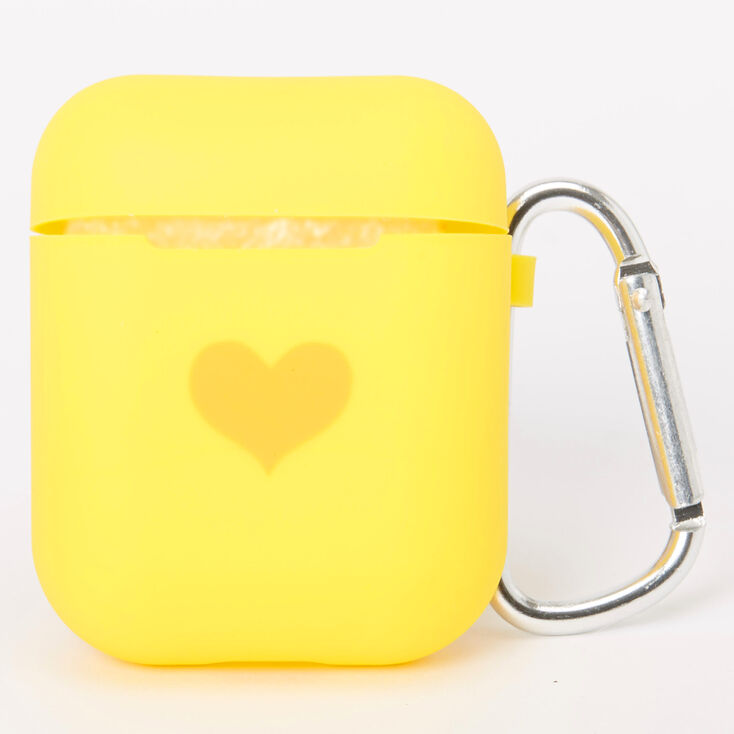 Yellow Heart Silicone Earbud Case Cover - Compatible With Apple Airpods,